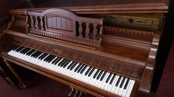 B Squire Burr Walnut Upright Piano for sale